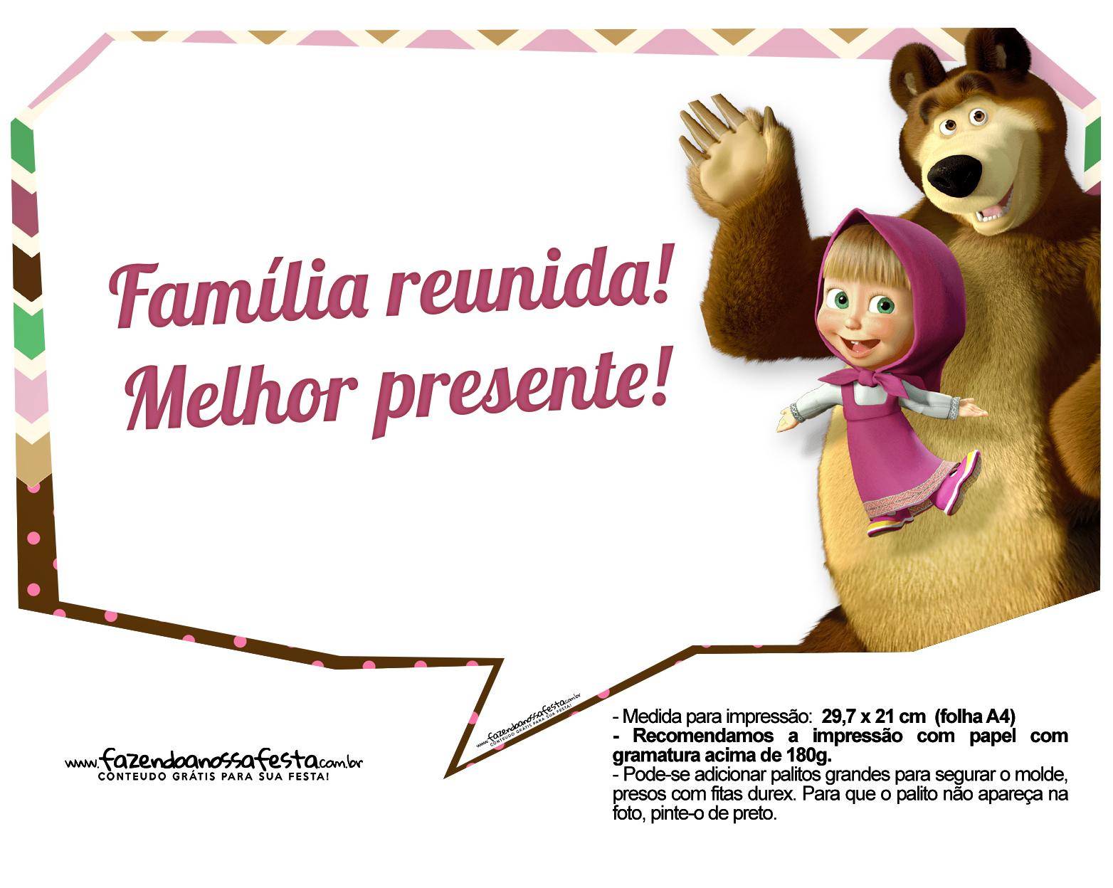 Plaquinhas para fotos Masha e o Urso 7