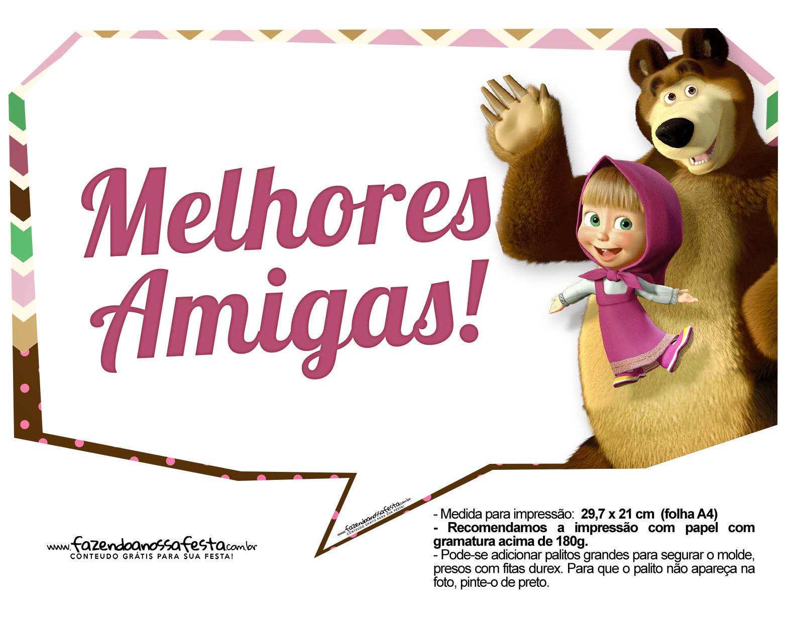 Plaquinhas para fotos Masha e o Urso