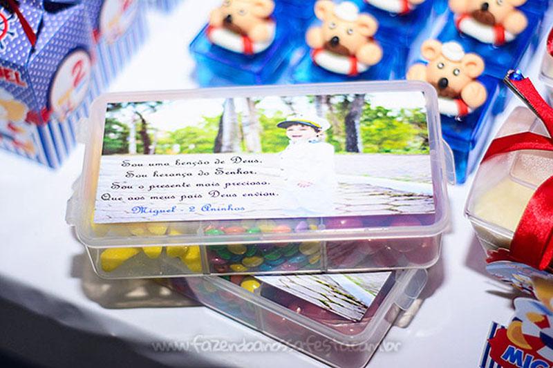 Pote de balas Festa Infantil Ursinho Marinheiro do Miguel