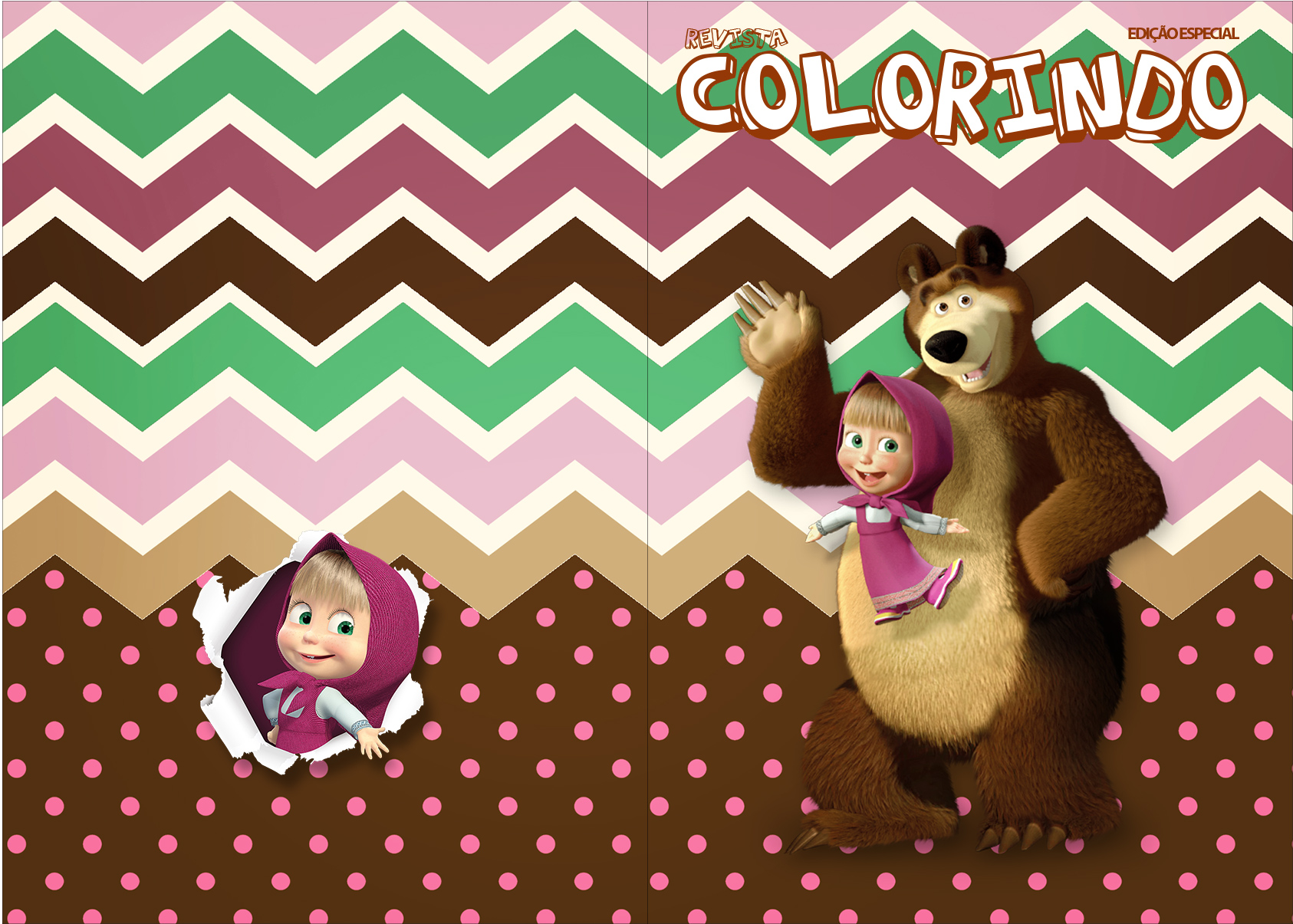 Revista Colorindo Masha E O Urso Kit