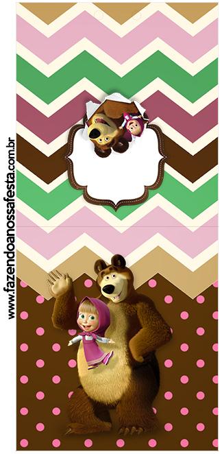 Rotulo Pirulito Masha e o Urso Kit