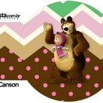 Rótulo Porta Guardanapos Masha e o Urso Kit Festa