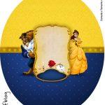Rótulo Tubete Oval A Bela e a Fera Kit festa