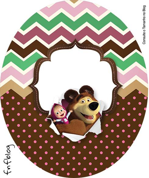 Rotulo Tubete Oval Masha e o Urso Kit Festa