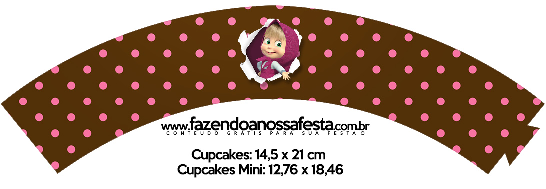 Saias Wrappers para Cupcakes Masha e o Urso Kit Festa