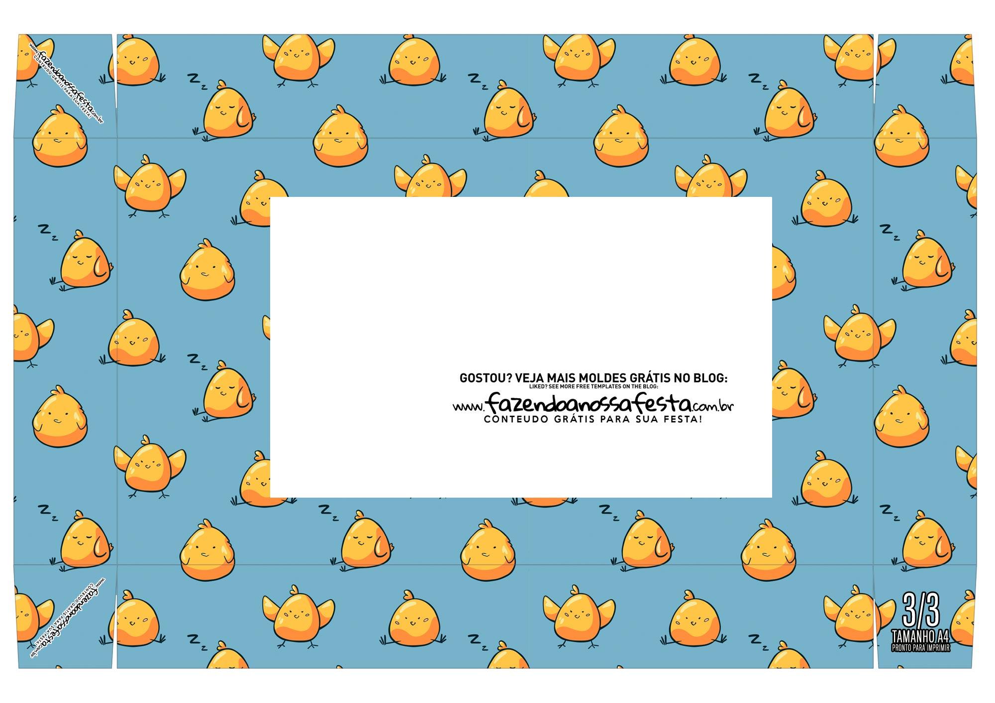 Caixa Mini Confeiteiro Pintinho amarelinho cima