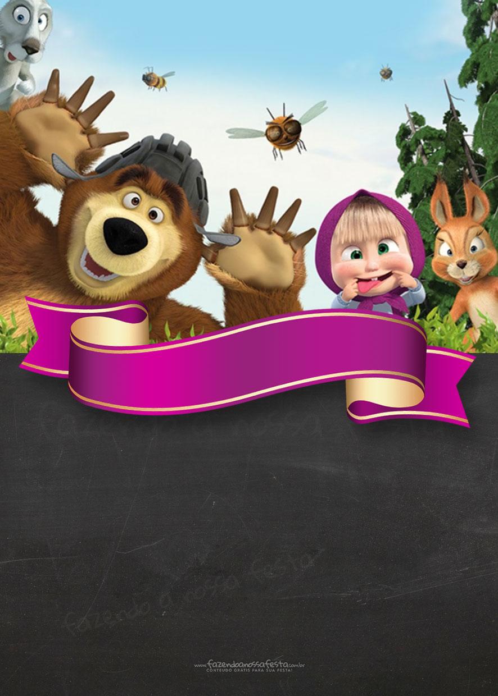 Convite Chalkboard Masha e o Urso 10