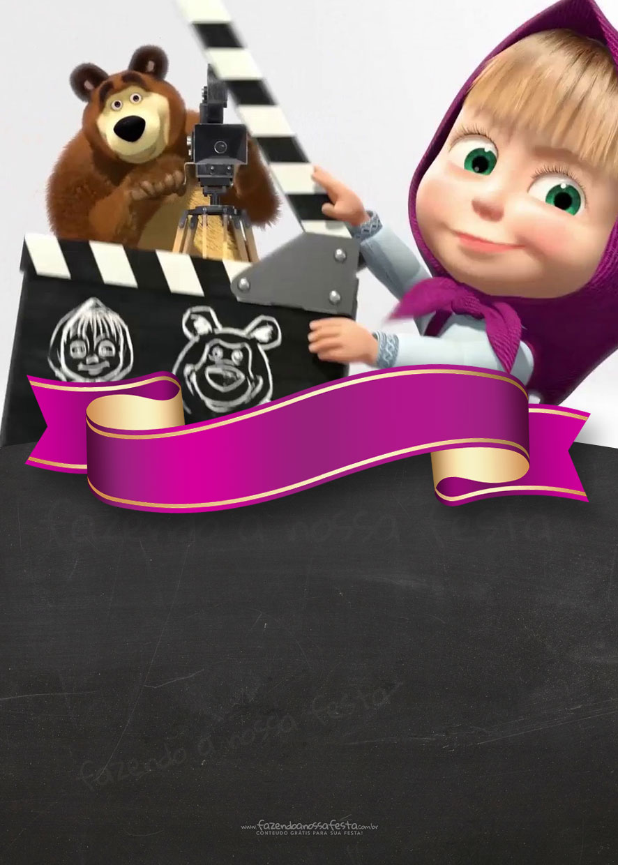Convite Chalkboard Masha e o Urso 11