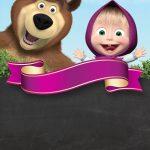 Convite Chalkboard Masha e o Urso 12