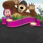 masha and the bear birthday invitation