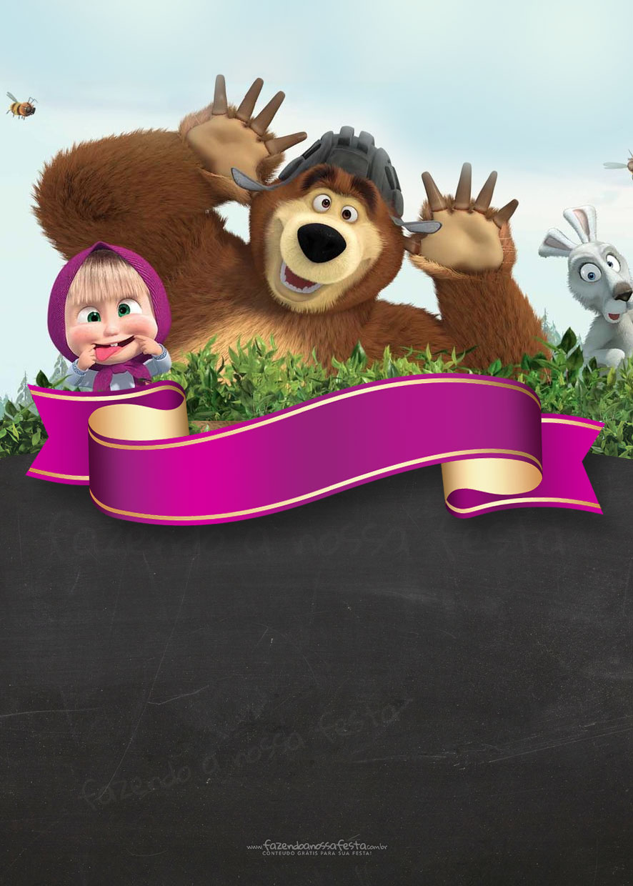 Masha and the bear birthday invitation fazendo a nossa festa masha and the bear birthday invitation stopboris Choice Image
