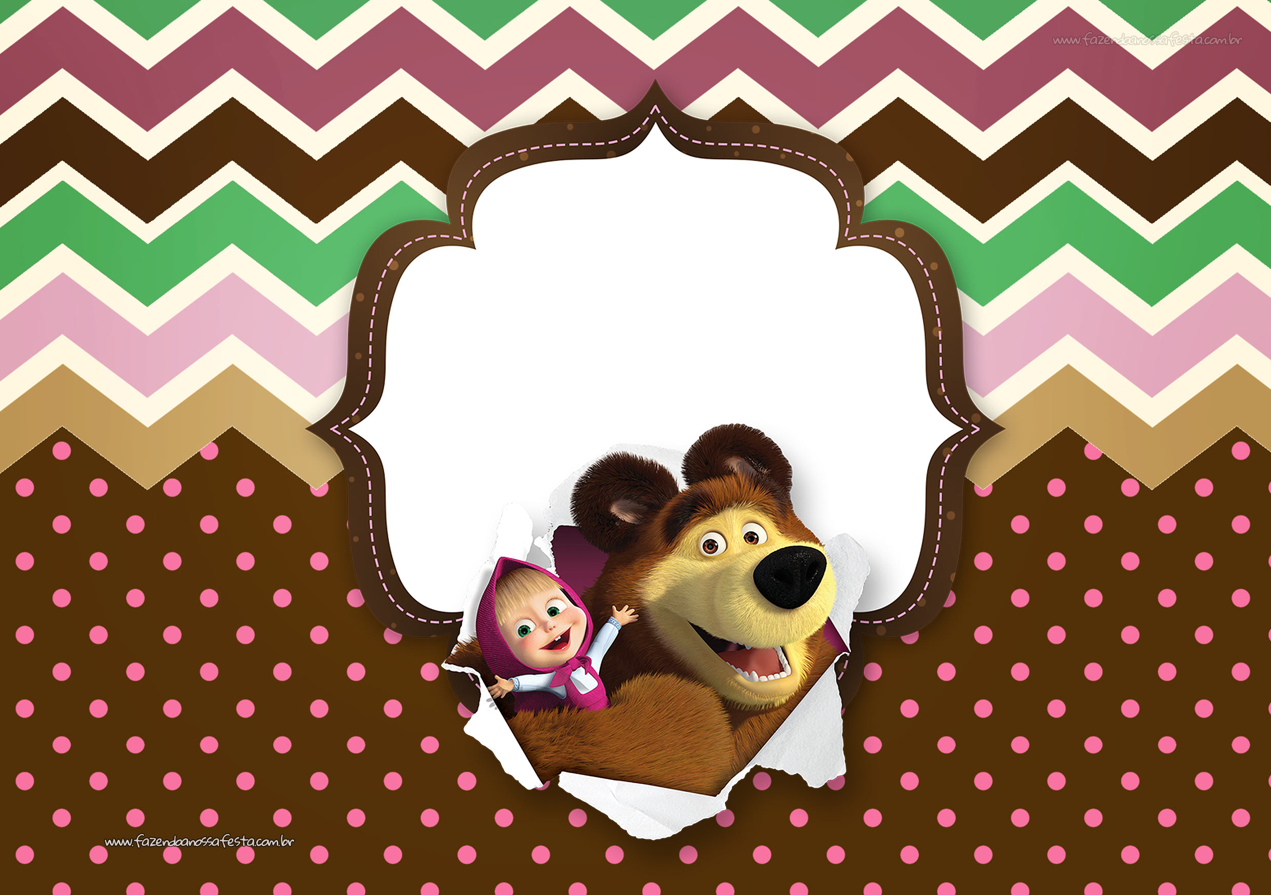 masha and the bear party invitations