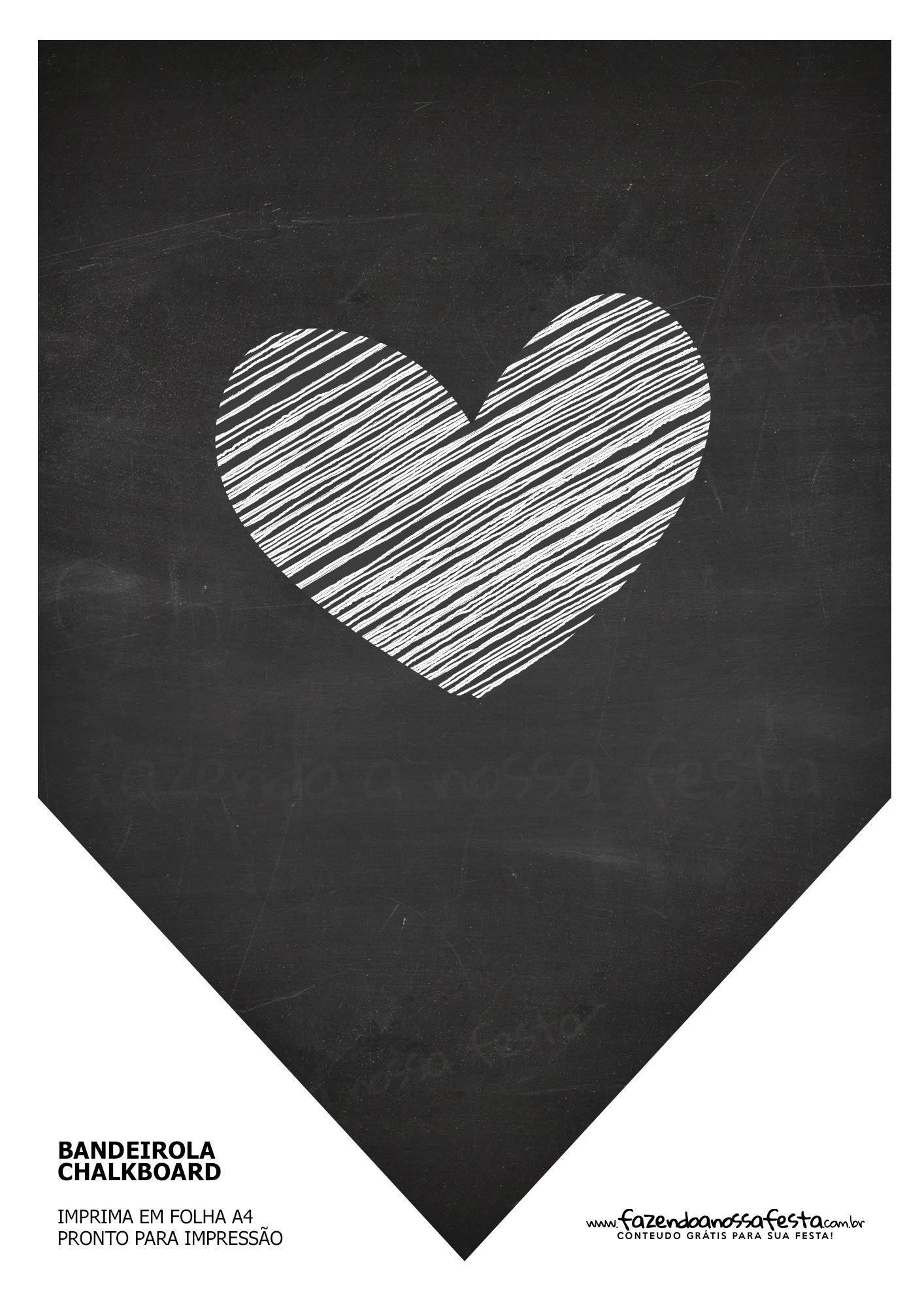 Bandeirinha Chalkboard Coração