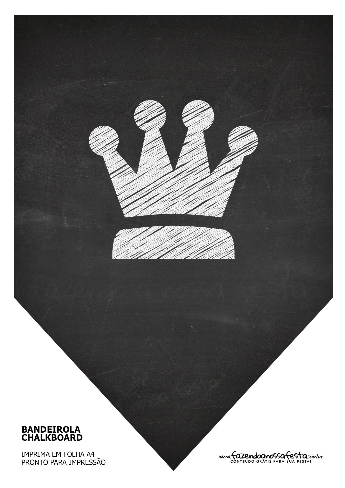 Bandeirinha Chalkboard Coroa