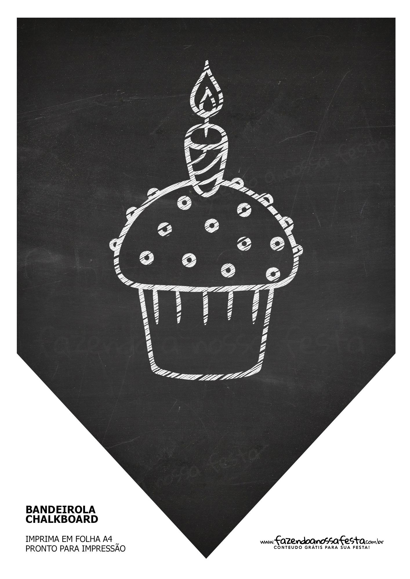 Bandeirinha Chalkboard Cupcake