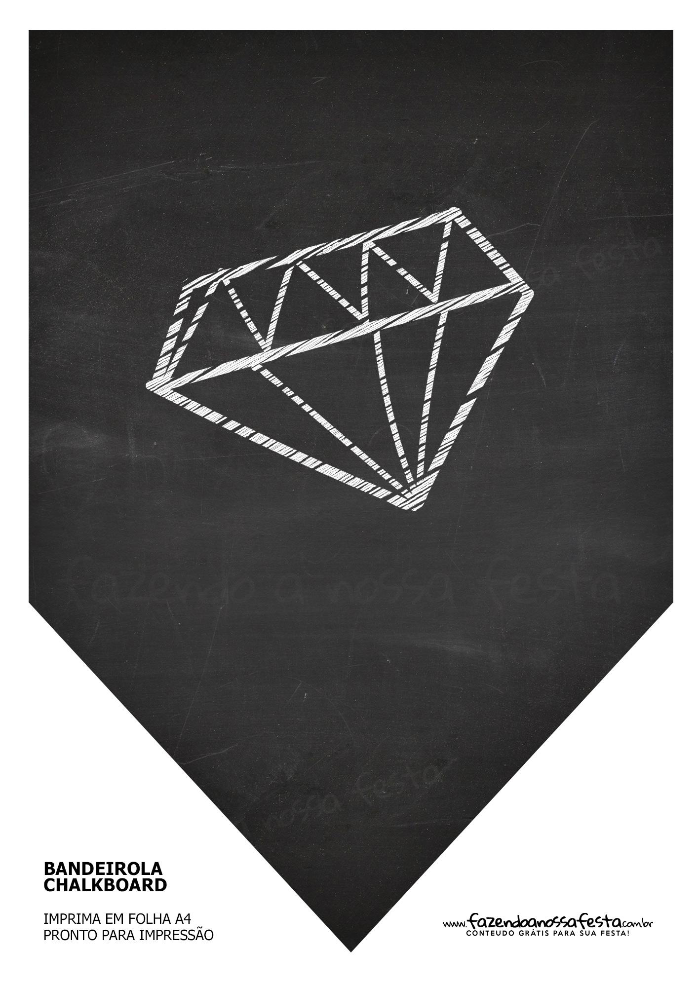 Bandeirinha Chalkboard Diamante