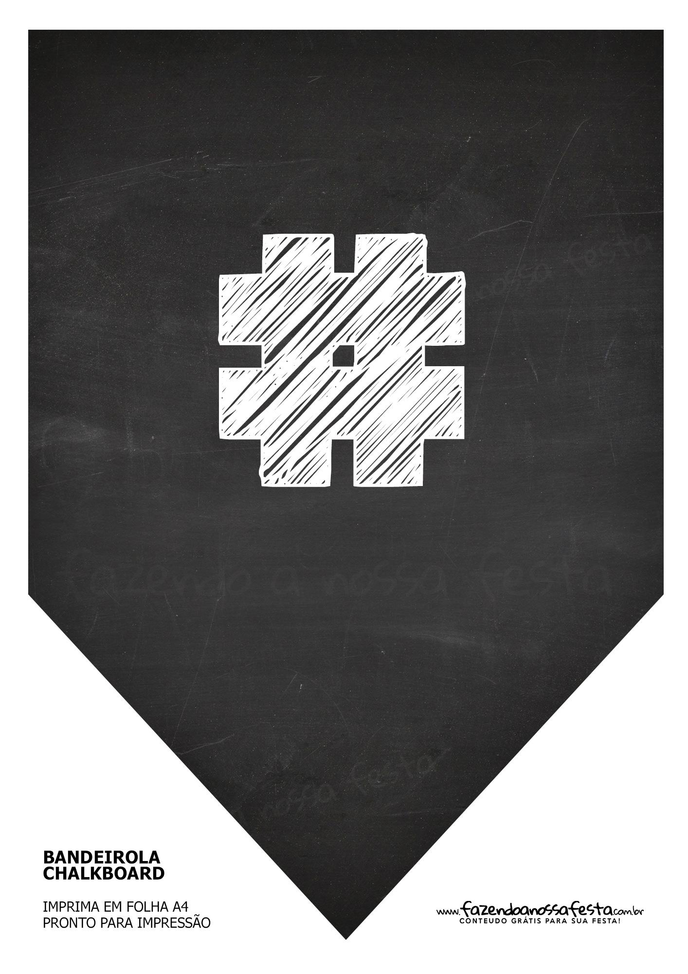 Bandeirinha Chalkboard Hastag