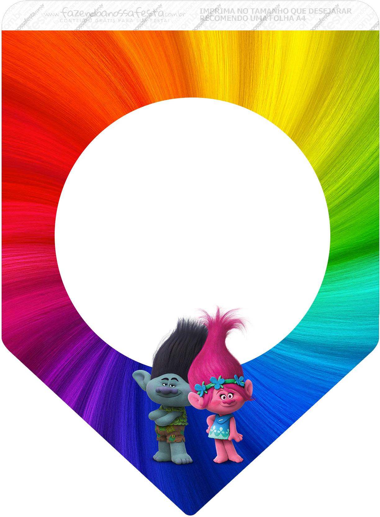 Bandeirinha Varalzinho 3 Trolls Kit Festa