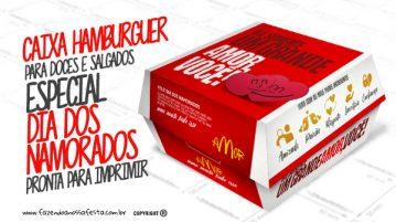 Caixa Hambúrguer Dia dos Namorados