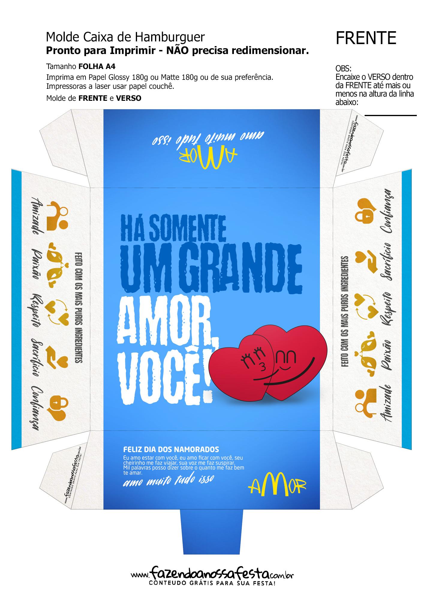 Caixa Hambúrguer Dia dos Namorados Azul