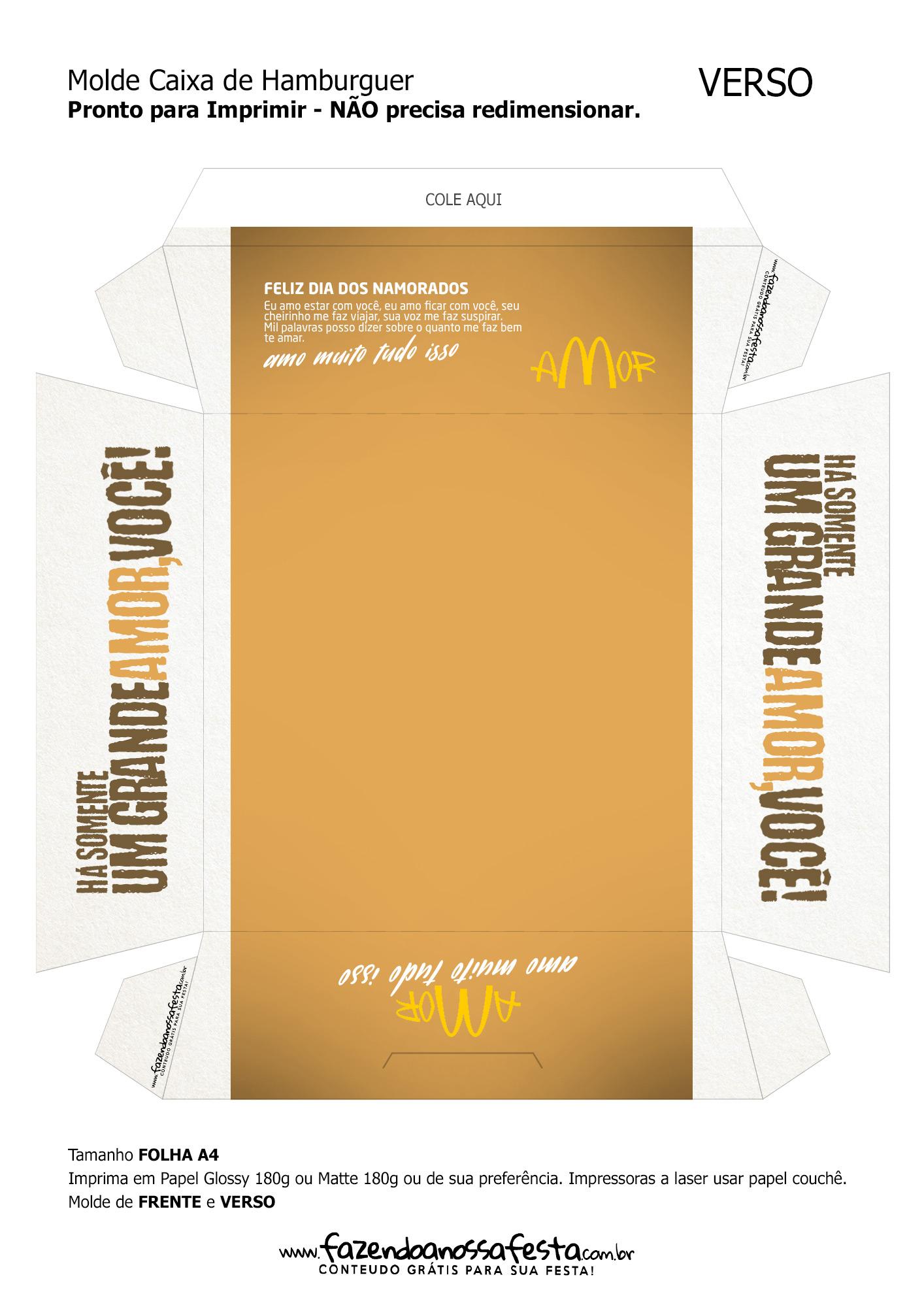 Caixa Hambúrguer Dia dos Namorados Dourada Verso
