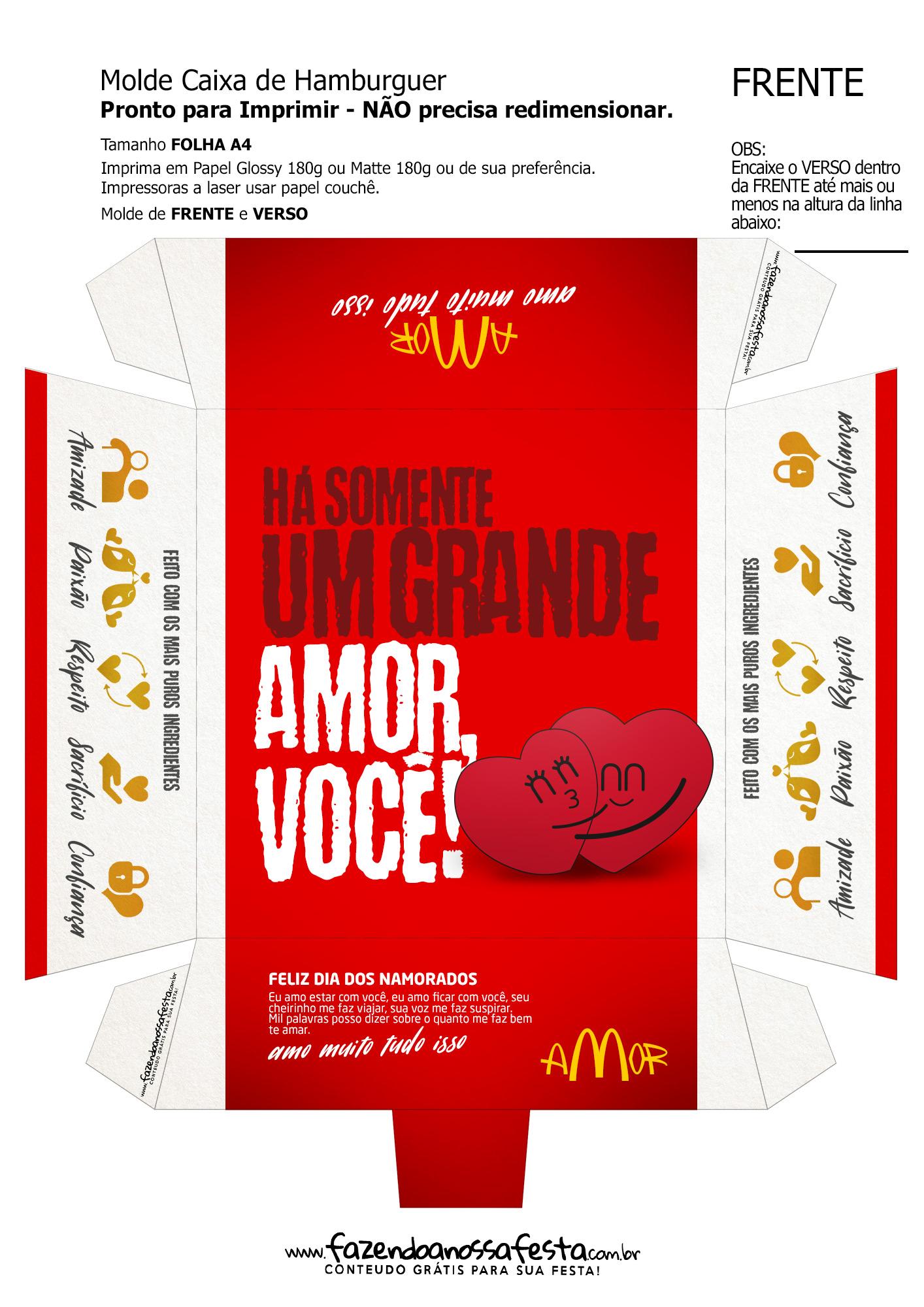 Caixa Hambúrguer Dia dos Namorados Vermelho
