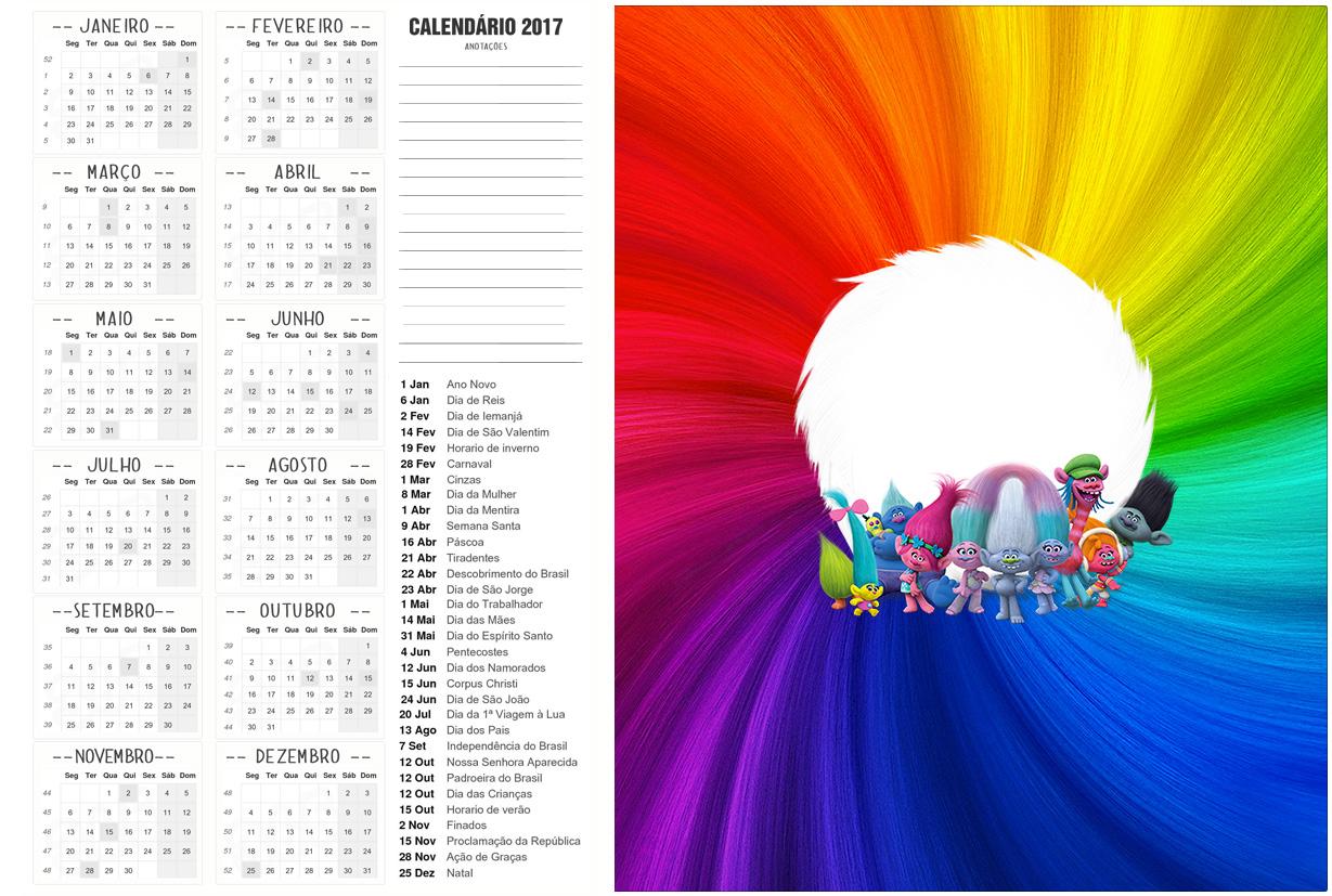 Calendário 2017 2 Trolls