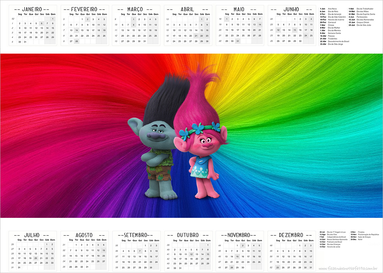 Calendário 2017 Trolls