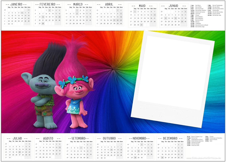 Convite Calendário 2017 Trolls