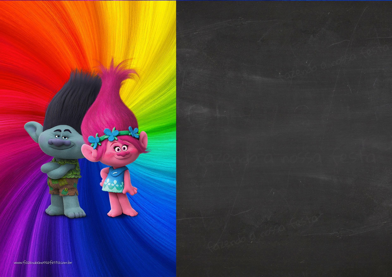 Convite Chalkboard Trolls