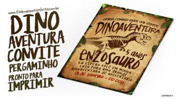 Convite Pergaminho Dinossauro
