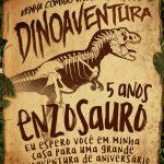 Convite Pergaminho Dinossauro Preenchido