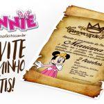Convite Pergaminho Minnie Princesa Grátis para Imprimir