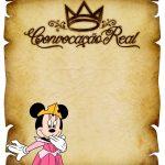 Convite Pergaminho Minnie Princesa Rosa