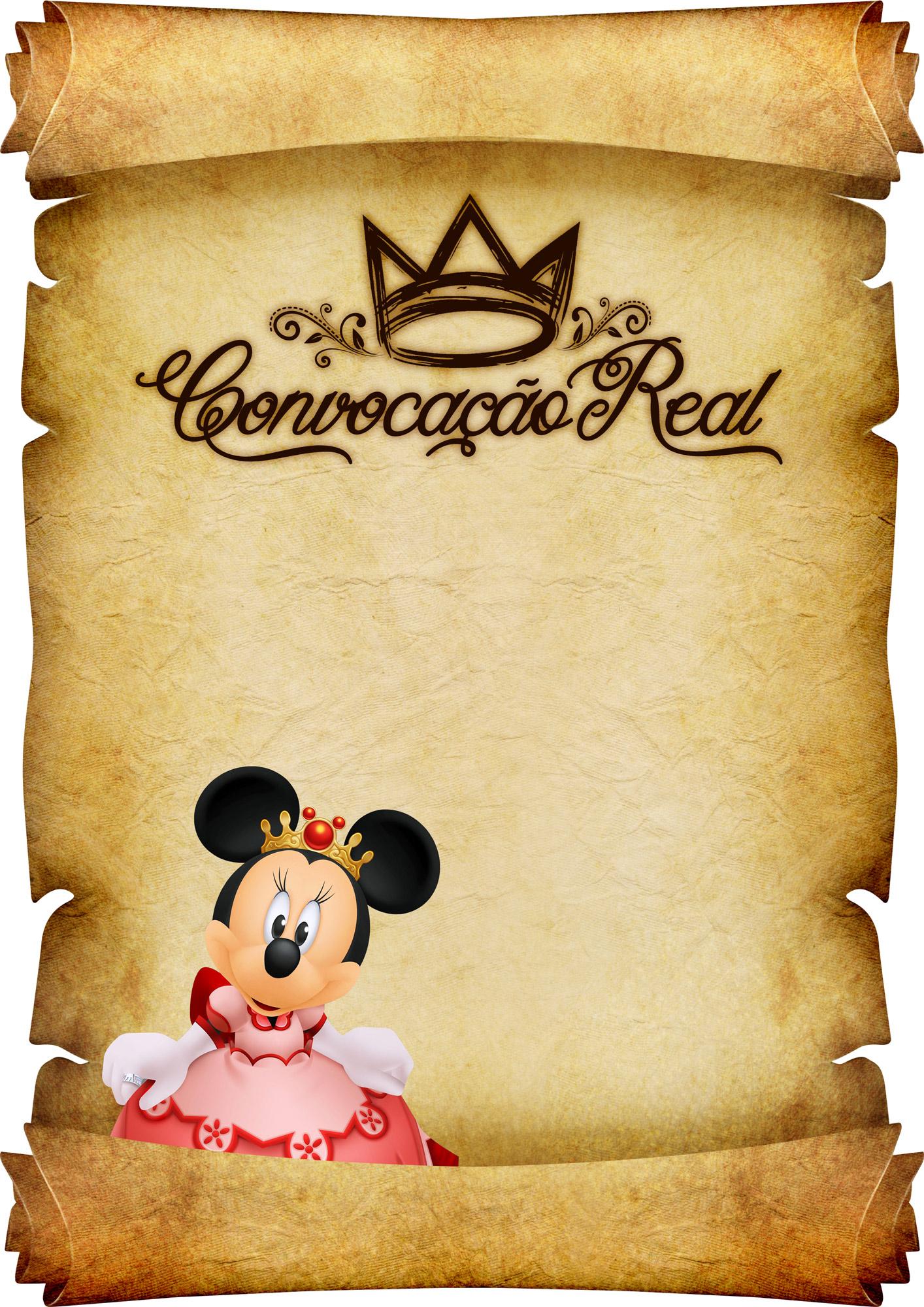 Convite Pergaminho Minnie Princesa Vermelho