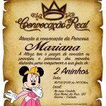 Convite Pergaminho Minnie Princesa preenchido