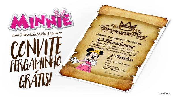 Convite Pergaminho Minnie Princesa