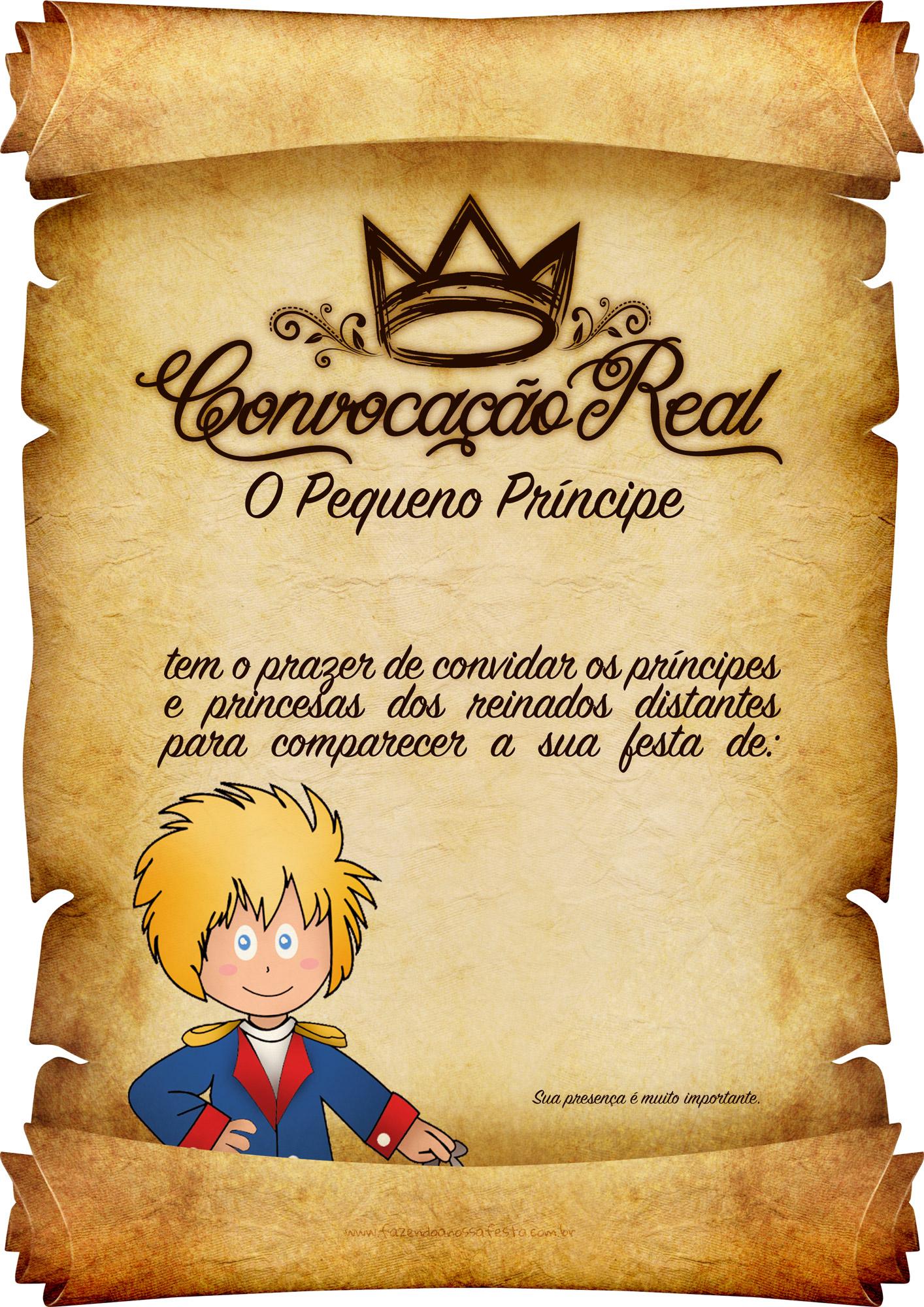 Convite Pergaminho Pequeno Príncipe 3 Fazendo A Nossa Festa