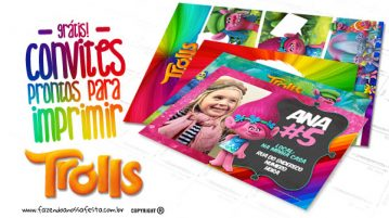 Convite Trolls Grátis para Imprimir