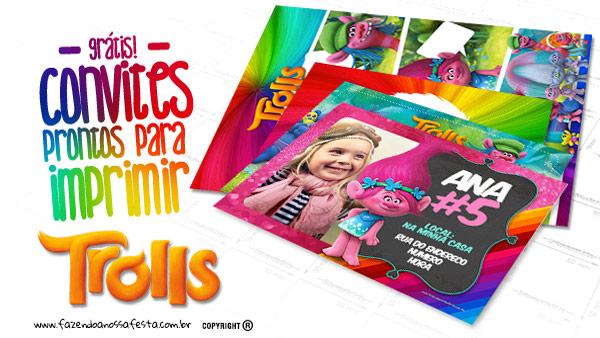 Convite Festa Trolls Grátis para Imprimir