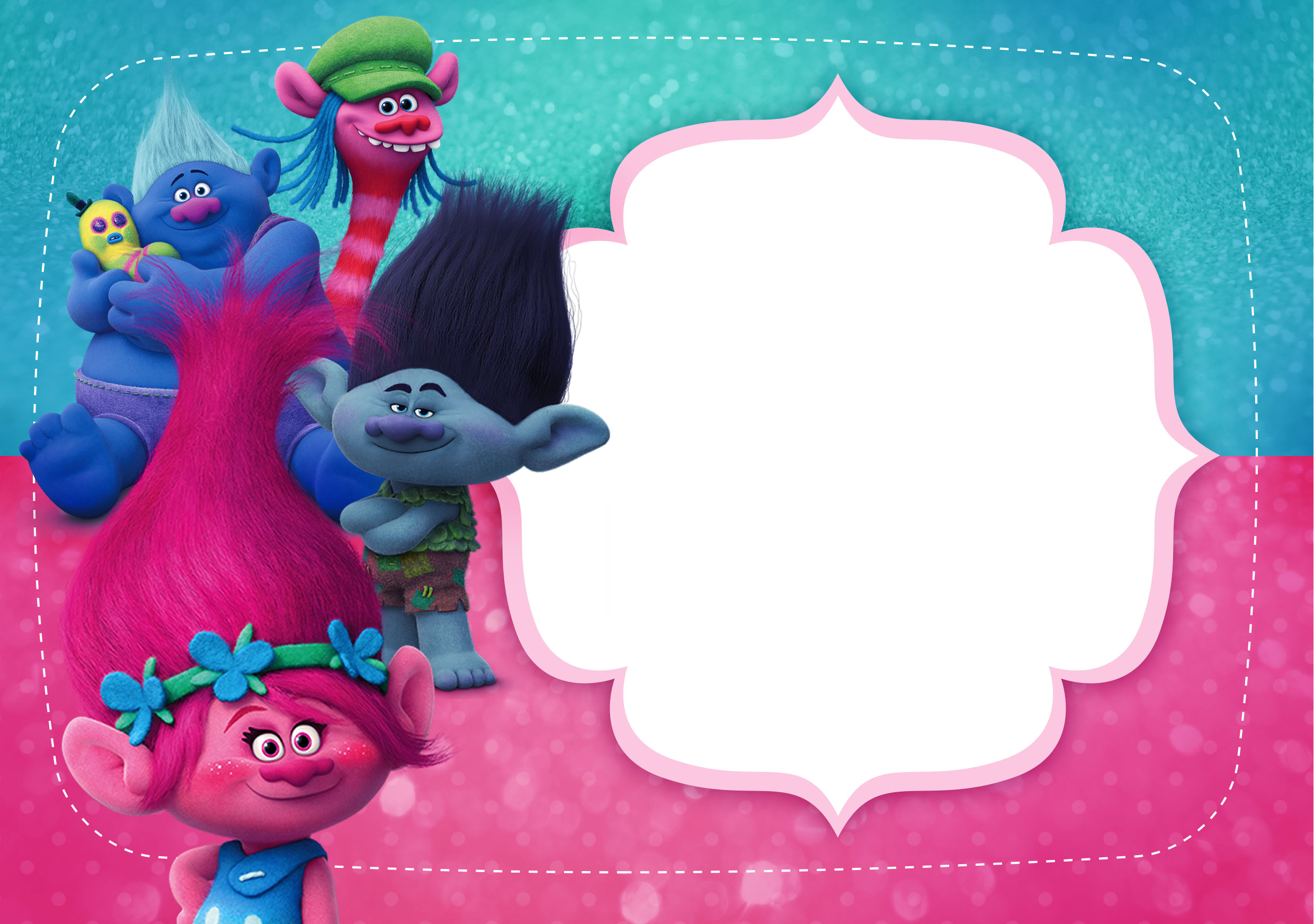 Convite Trolls grátis