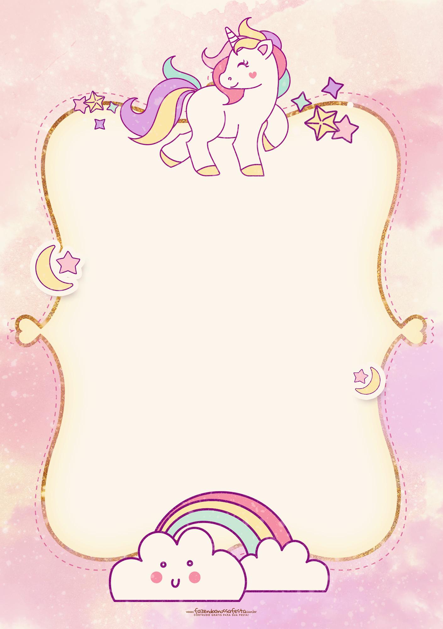 Convite Unicornio 2 - Fazendo a Nossa Festa