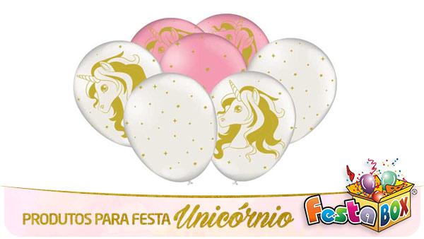 Festa Unicórnio com Produtos FestaBox Balões