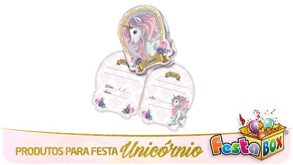 Festa Unicórnio com Produtos FestaBox Convites