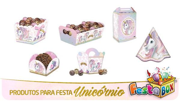 Festa Unicórnio com Produtos FestaBox Papelaria