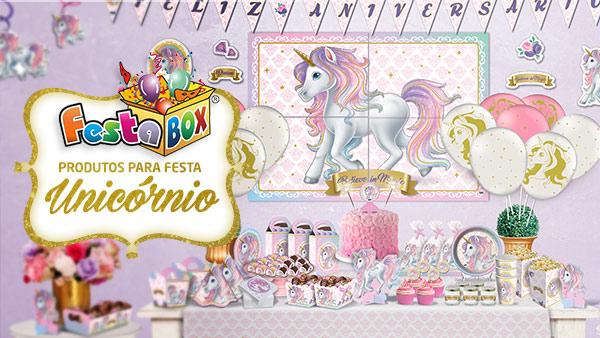 Festa Unicórnio com Produtos FestaBox
