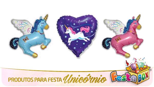 Festa Unicórnio com Produtos FestaBox Balões Metalizados