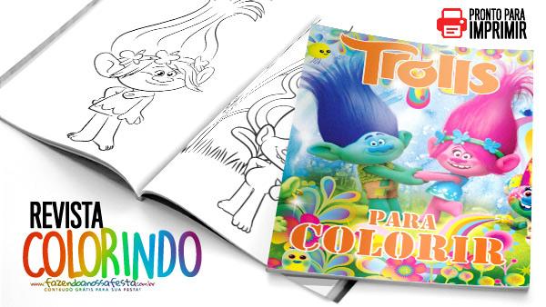Livrinho de Colorir Trolls para Imprimir