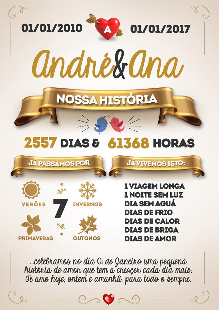 Quadro Dia dos Namorados Nossa História Preenchido