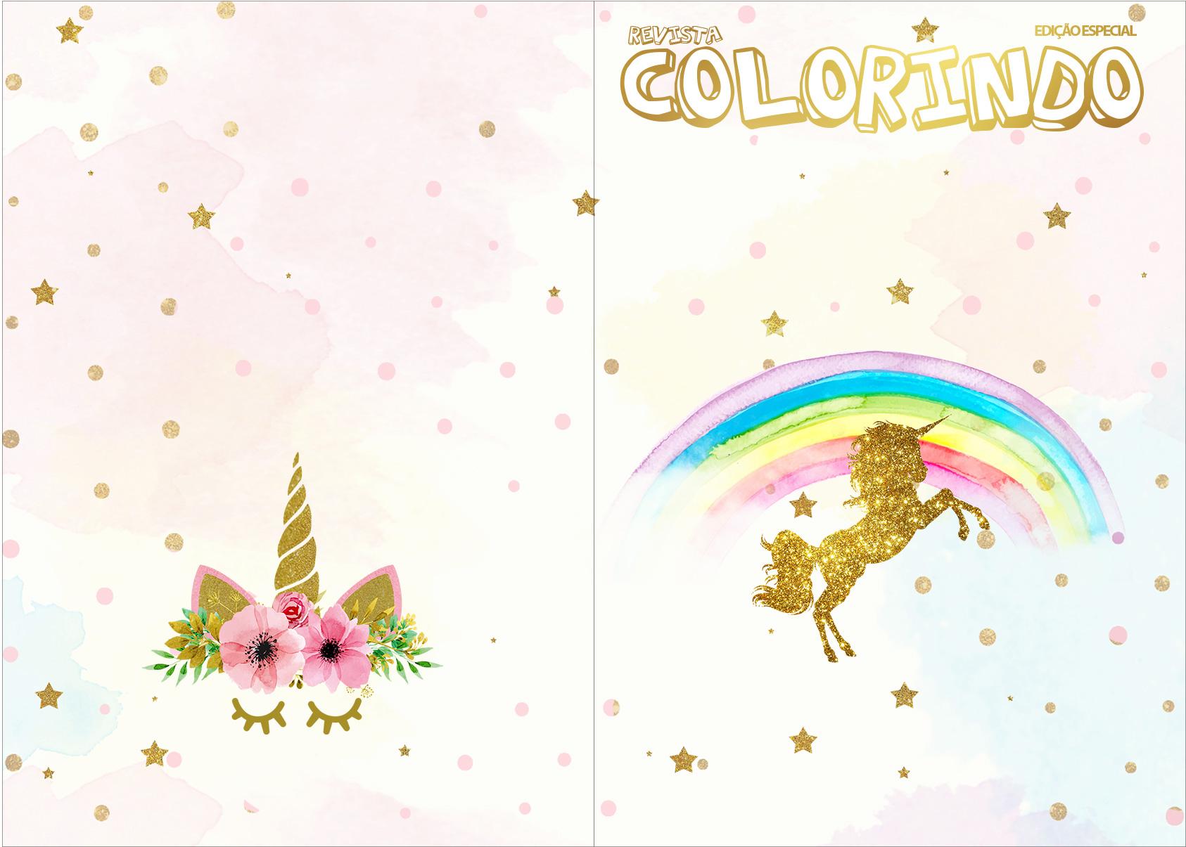 Revista Colorindo Unicornio Fazendo A Nossa Festa